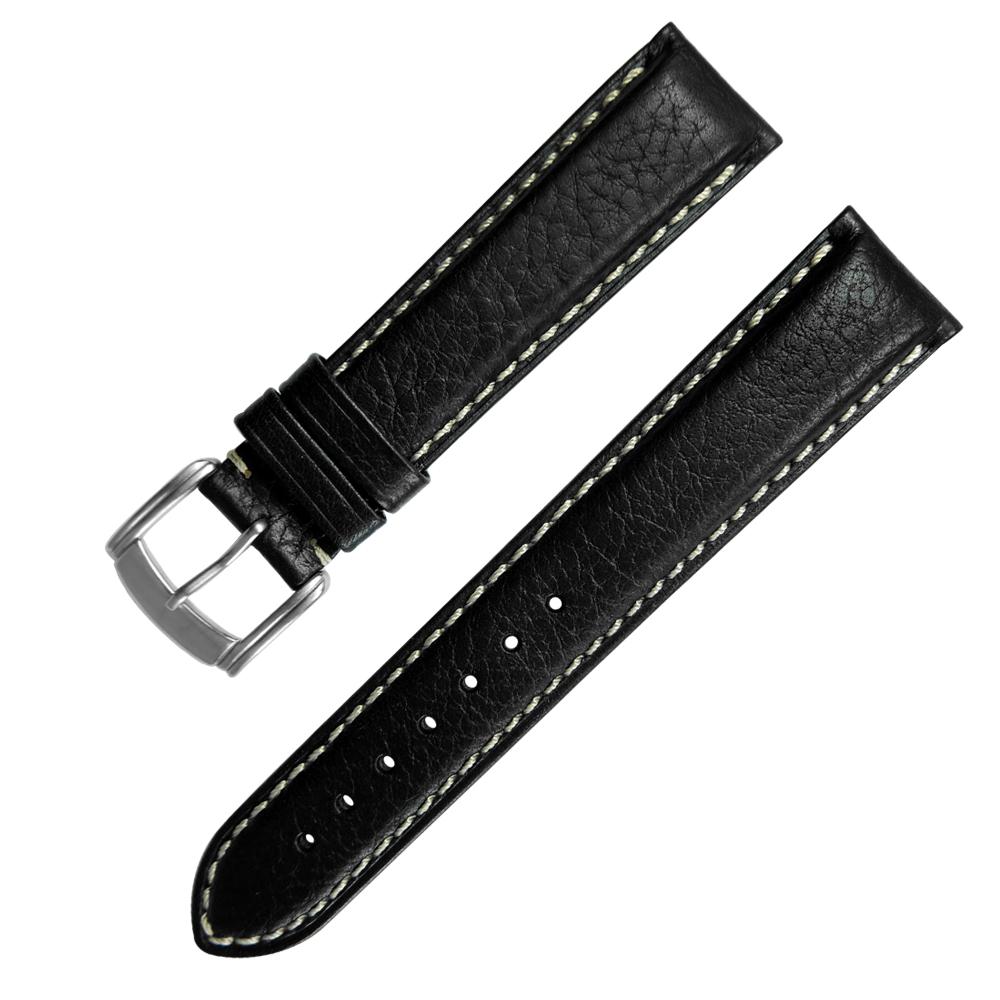 Watchband / 各品牌通用加長型精緻牛皮錶帶-黑色