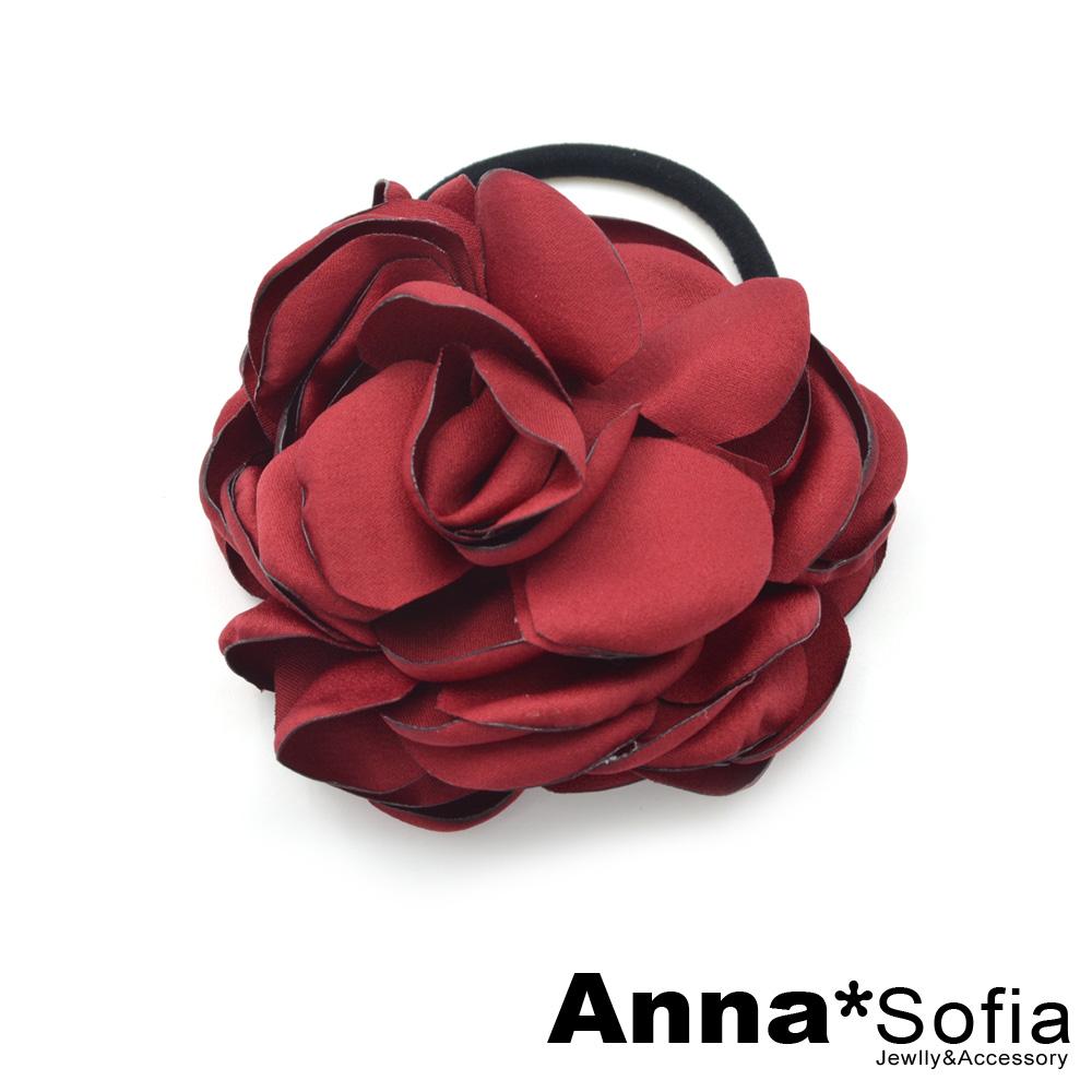 【3件480】AnnaSofia 優雅薔薇 純手工髮束(酒紅色)