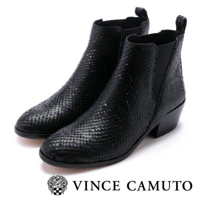 Vince Camuto  特殊紋皮粗跟短靴-黑色