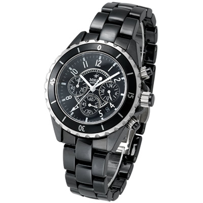 【MIRRO】貴族風雅三眼陶瓷錶(黑/40mm)