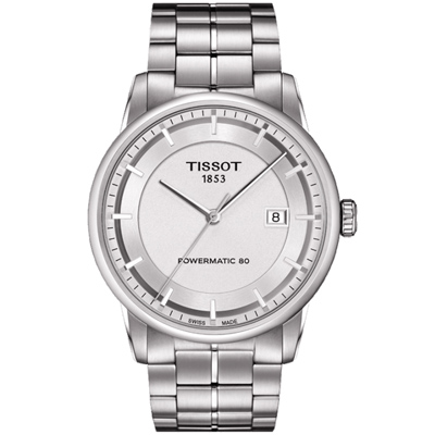 TISSOT Luxury Powermatic 80機械腕錶-銀/41mm