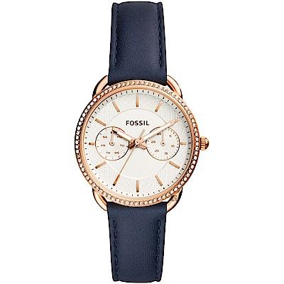FOSSIL Tailor 優雅時代日曆女錶-玫塊金框x藍錶帶/34mm ES4394