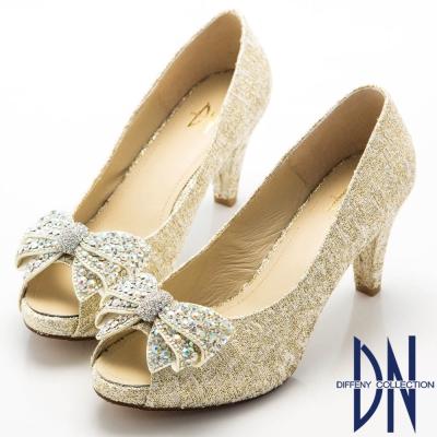 DN-優美細緻-金蔥亮布蝴蝶結水鑽魚口跟鞋-金