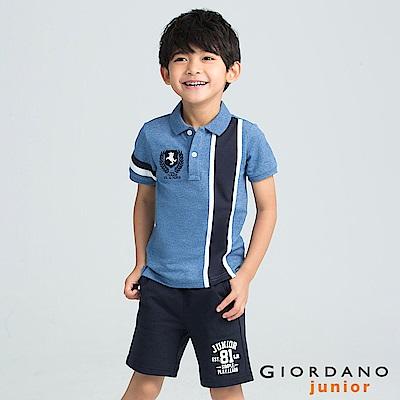 GIORDANO  童裝拿破崙刺繡布章短袖POLO衫-23 花紗靛藍