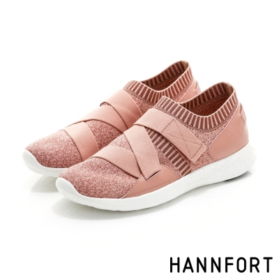 HANNFORT ICE暖心編織彈性帶時尚運動鞋-女-粉紅