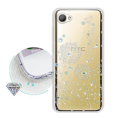 浪漫彩繪 HTC Desire 12 水鑽空壓氣墊手機殼(風信子)