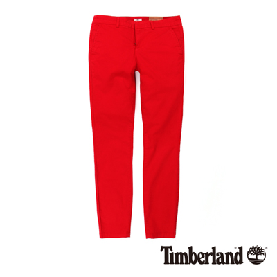 Timberland 女款紅色素面彈性修身休閒九分褲