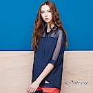 OUWEY歐薇 率性縷空格紋雪紡外套(藍)