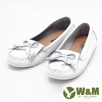 W&M 休閒蝴蝶結平底女鞋-白(另有藍、灰)