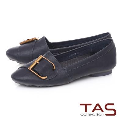 TAS 金屬皮扣帶拼接柔軟羊皮平底鞋-質感藍
