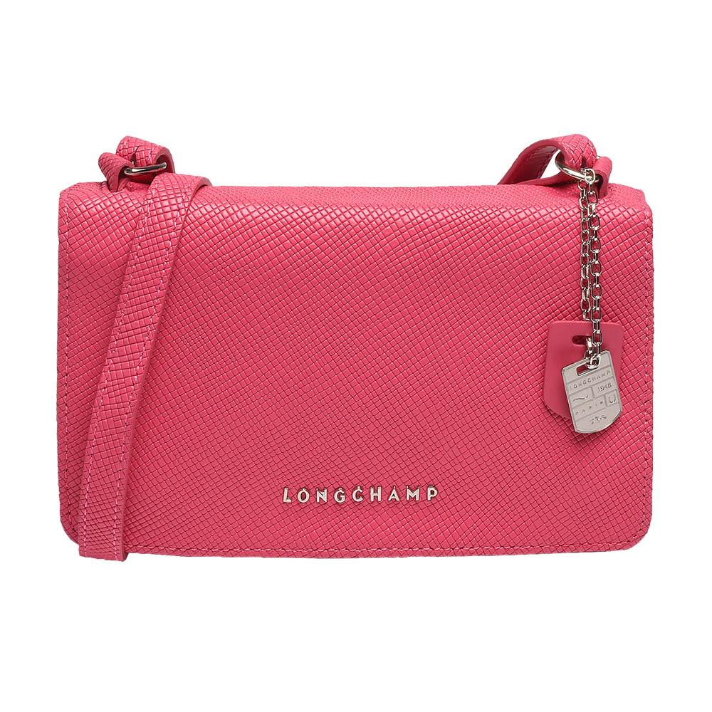 LONGCHAMP 經典Quadri系列浮雕LOGO牛皮手拿/斜背包(粉紅色)LONGCHAMP