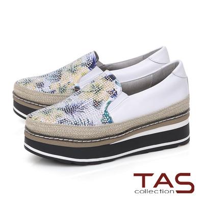 TAS 鳳梨水鑽草編厚底休閒鞋-經典白