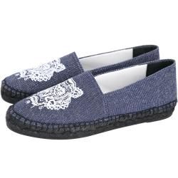 KENZO Tiger Espadrilles 老虎刺繡帆布草編便鞋(女款/牛仔藍)
