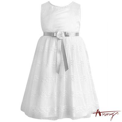 Annys純潔系緞質亮片玫瑰條紋蕾絲禮服*7102白