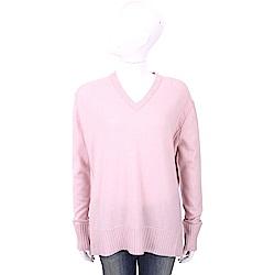 ALLUDE 喀什米爾粉色V領織紋羊毛衫