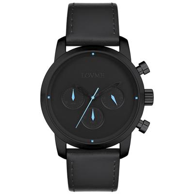 LOVME Stardust時尚手錶-IP黑x藍/43mm