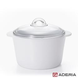 【ADERIA】日本進口陶瓷塗層耐熱玻璃調理鍋3L