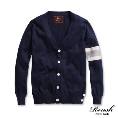 Roush-韓版雙色設計針織開釦外套-3色