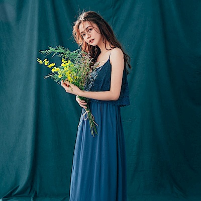 CACO-縷空蕾絲細肩洋裝(兩色)-女【PSH128】