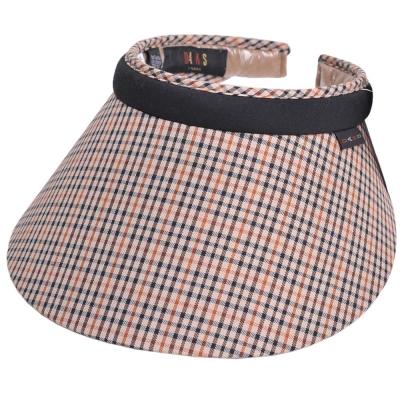 DAKS 經點品牌LOGO細格紋運動型遮陽帽(卡其格)
