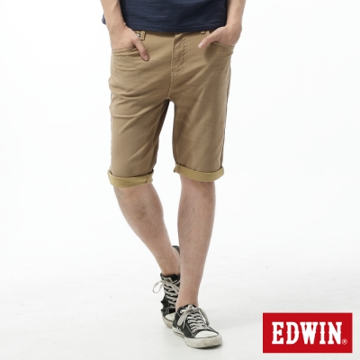 EDWIN 迦績褲 舒適色褲短褲-男-卡其色