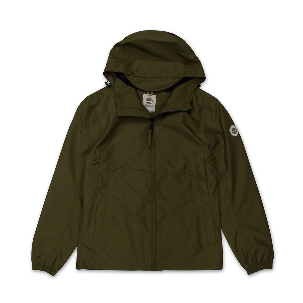 Timberland 男款軍綠色素面防水夾克外套