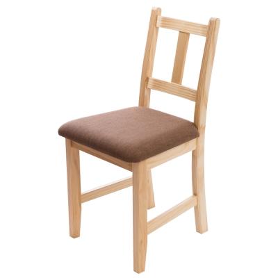 CiS自然行實木家具- 南法實木餐椅(扁柏自然色)深咖啡椅墊