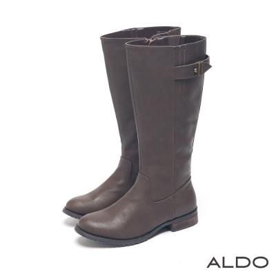 ALDO-中性休閒原色金屬釦帶復古木紋跟靴-個性棕
