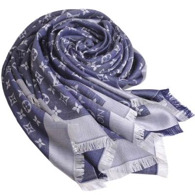 LV M71376 經典MONOGRAM 花紋披肩圍巾(牛仔丹寧色)