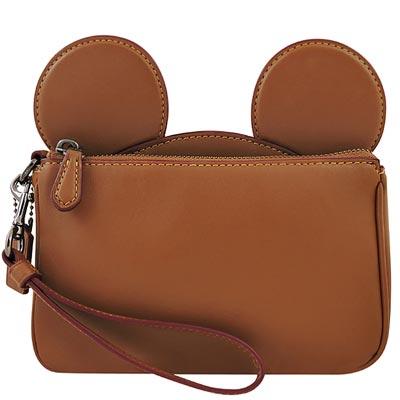 COACH DISNEY聯名系列焦糖色MICKEY造型手拿包