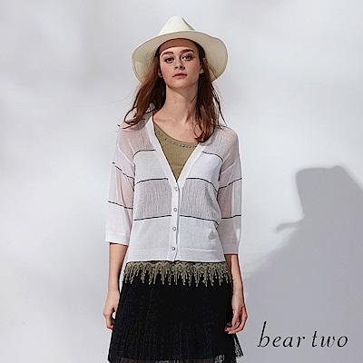 beartwo 針織縷空條紋拼接外套(三色)