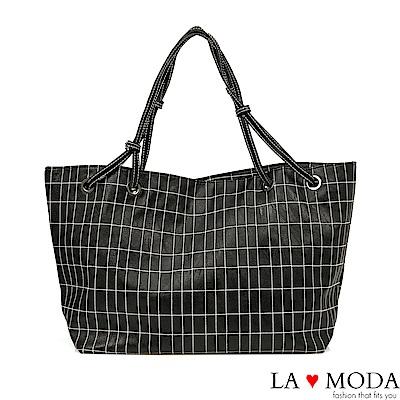La Moda 超大容量多way格紋車線肩背斜背托特包(黑)