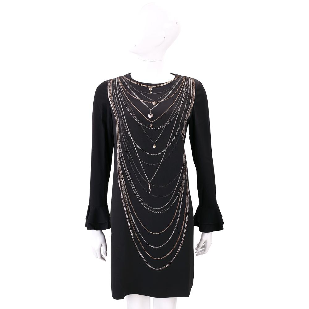 MOSCHINO 黑色墜鍊飾圖印喇叭袖洋裝