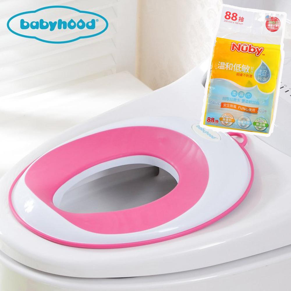 baby hood 兒童輔助座便圈+Nuby EDI超純水柔濕巾88抽/1串