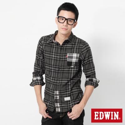 EDWIN 輕磨毛格紋拼接長袖襯衫-男-黑色