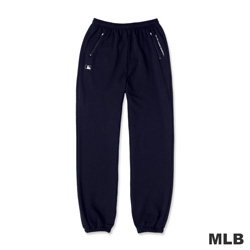 MLB-大聯盟雙側拉鍊口袋縮口印花厚棉長褲-深藍色(男)