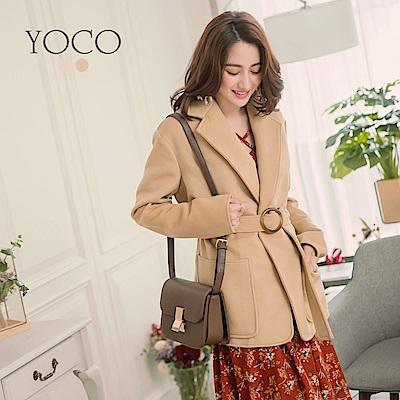 東京著衣-yoco 質感純色翻領大口袋綁帶大衣-S.M.L(共二色)