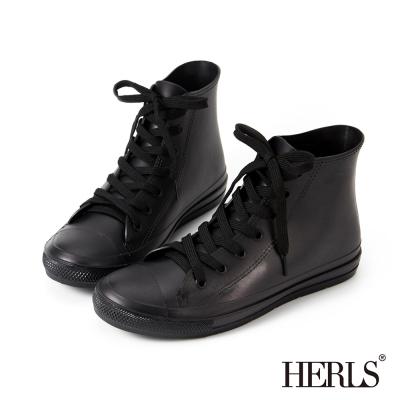 HERLS-雨季必備-帆布款高筒綁帶雨鞋-黑色