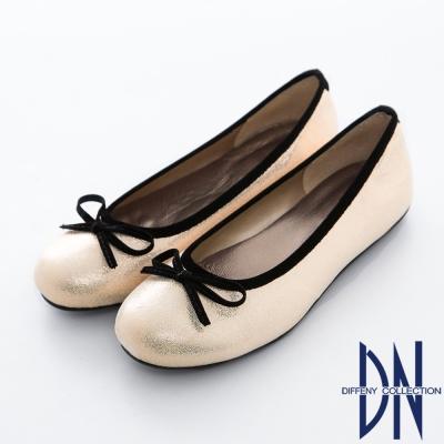 DN-台灣製造-簡約百搭蝴蝶結豆豆底娃娃鞋-米