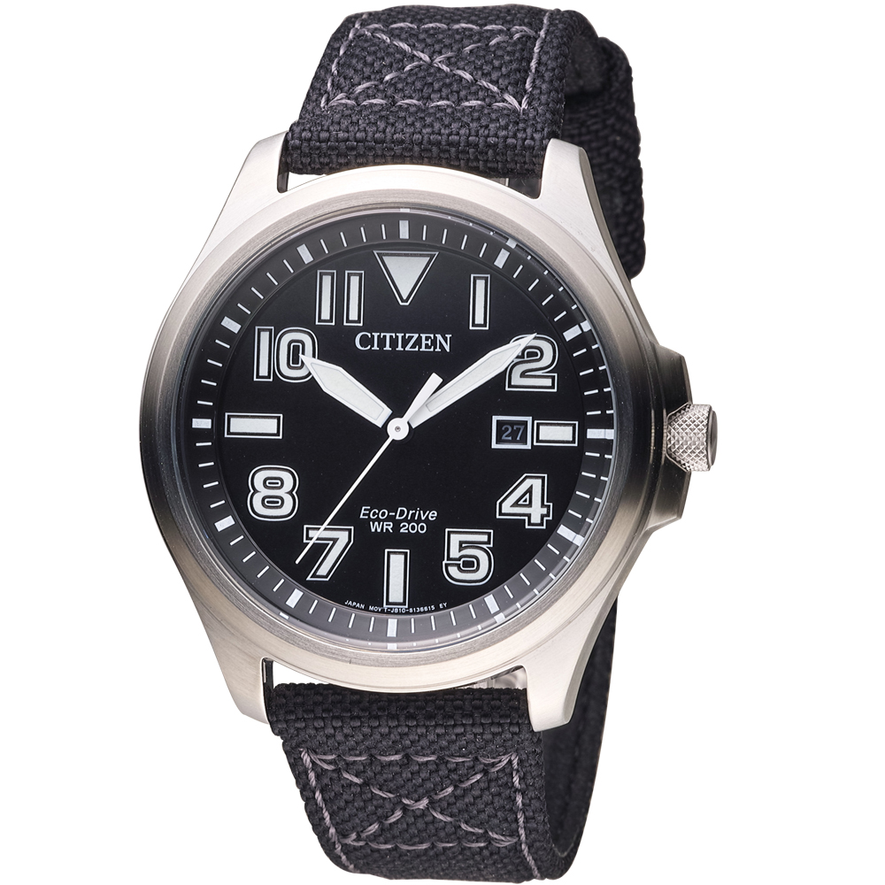 CITIZEN 星辰 光動能復古時尚腕錶(AW1410-24E)-黑/44mm