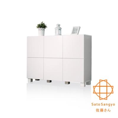 Sato-FREA川久六門收納櫃 (樸素白) W107×D30×H78cm