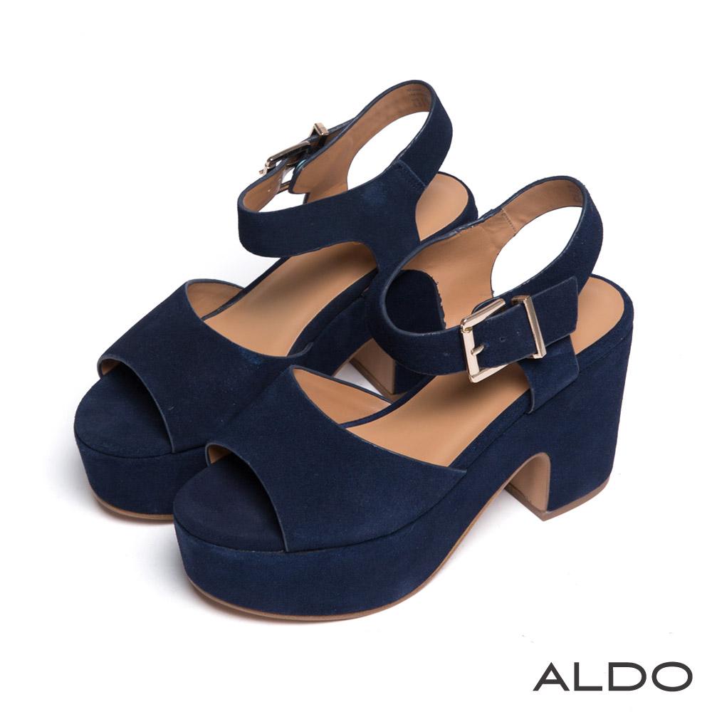 ALDO 原色露趾魚口金屬釦帶繫踝粗跟涼鞋~海軍藍色