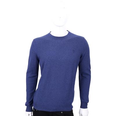 TRUSSARDI 藍色刺繡LOGO羊毛長袖上衣(50%WOOL)