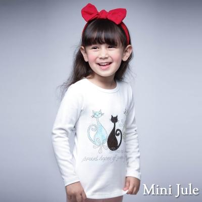 Mini Jule 童裝-上衣 貓咪圖樣圓領長袖T恤(米白)