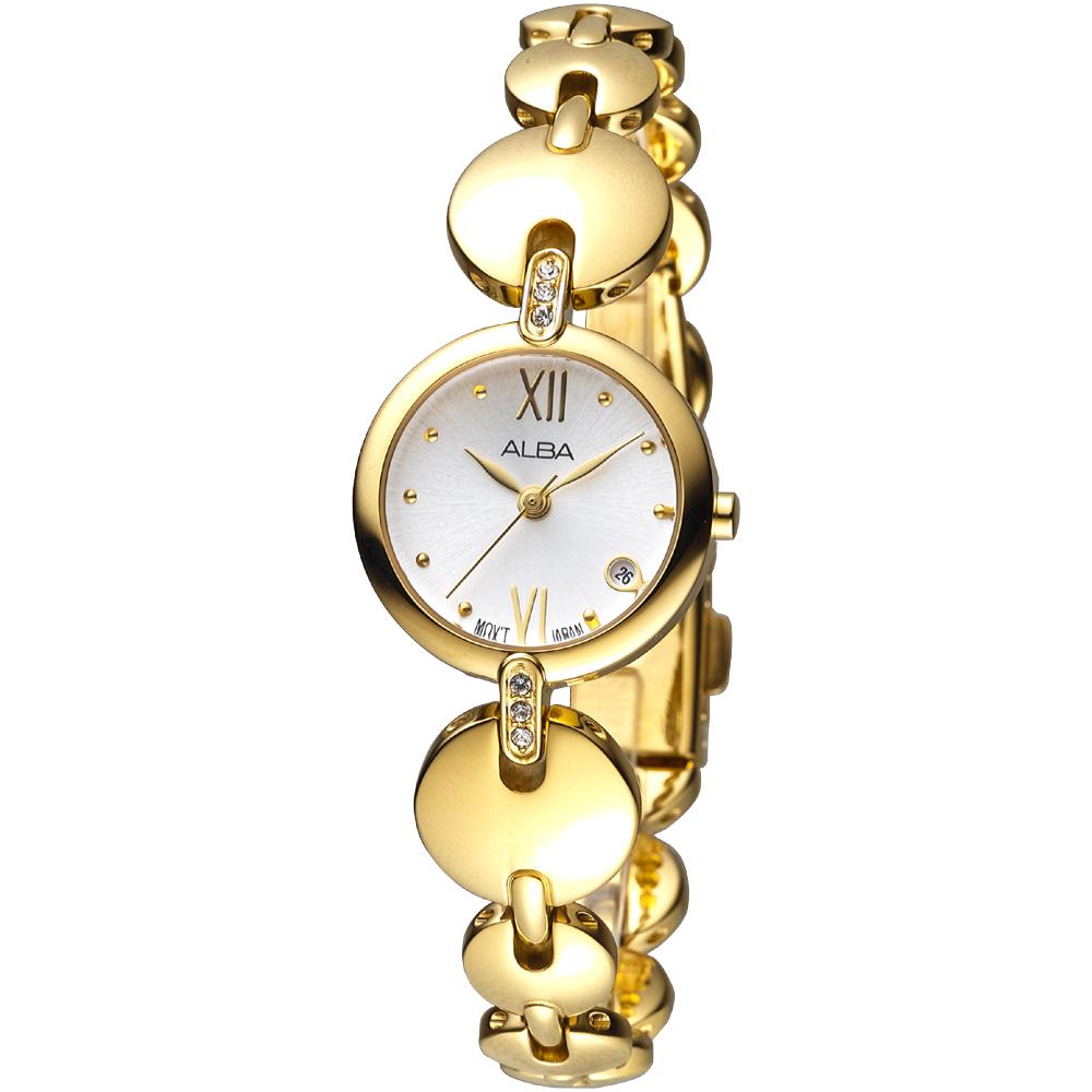 ALBA 一代佳人晶鑽女錶(AH7A70X1)-銀x金/22mm