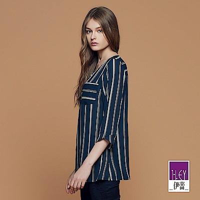 ILEY伊蕾 時尚條紋圓領上衣魅力價商品(藍)