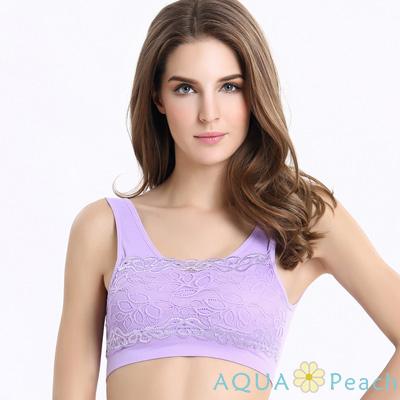 運動內衣 集中托高蕾絲花邊無鋼圈內衣 (紫色)-AQUA Peach