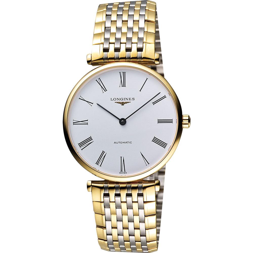 LONGINES 嘉嵐系列經典機械腕錶-白x雙色版/34mm L47082117