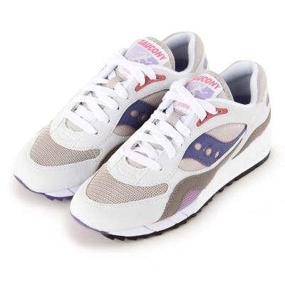 (女) 美國 SAUCONY 經典時尚休閒輕量慢跑球鞋-白紫