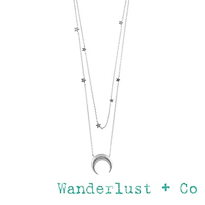 Wanderlust+Co 澳洲品牌 新月銀項鍊 雙層星星項鍊 CONSTELLATION